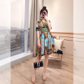 Dress Summer 2021 Decor S,M,L,XL Middle-skirt singleton  Short sleeve commute Polo collar High waist Decor Single breasted A-line skirt routine 25-29 years old Type A Justvivi style Retro Inlaid diamond, fold, stitching, three-dimensional decoration, button, zipper, printing Q00003265