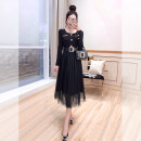 Dress Spring 2021 black S,M,L Mid length dress Fake two pieces Long sleeves commute Crew neck High waist Solid color Socket A-line skirt routine 25-29 years old Type A Justvivi style lady Pleats, pockets, stitching, tridimensional decoration, buttons, mesh Q00007123