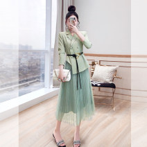 Fashion suit Spring 2021 S,M,L,XL Light green 25-35 years old Justvivi style T00007466