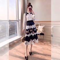 Middle aged and old women's wear Spring 2021 white S. M, l, XL, s (pre-sale 4.8-4.10) Two piece set Socket moderate routine other T00003032 Justvivi style fold Medium length other