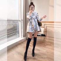 cheongsam Winter 2021 S,M,L,XL wathet three quarter sleeve Qipao Retro No slits daily Straight front Animal design 25-35 years old Piping Justvivi style