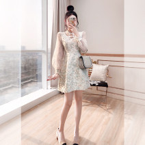 Dress Spring 2021 milky white S,M,L,XL,2XL Middle-skirt singleton  Long sleeves commute stand collar High waist Decor Socket A-line skirt other 25-29 years old Type A Justvivi style lady