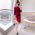 Dress S,M,L,XL,2XL Mid length dress singleton  Long sleeves commute Crew neck middle-waisted Solid color Socket One pace skirt routine 25-29 years old Type H Justvivi style Korean version Wool