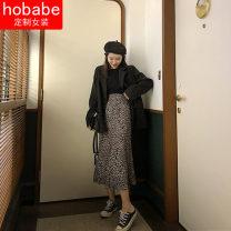 skirt Summer 2021 S,M,L,XL Khaki, high quality satin Mid length dress commute High waist A-line skirt Leopard Print Type A 18-24 years old other Other / other nylon zipper Korean version