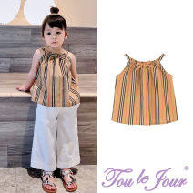 Vest sling khaki camisole 90,100,110,120,130,140 summer Tou le Jour female There are models in the real shooting Britain stripe other nothing Pure cotton (95% and above) Cotton 100% TK19115OT Class B 2 years old, 3 years old, 4 years old, 5 years old, 6 years old, 7 years old, 8 years old Shanghai