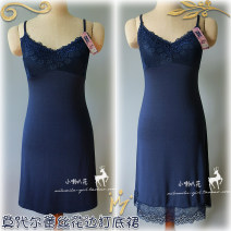 Dress Summer of 2019 Milky white (HEM lace), black (HEM lace), apricot (HEM lace), dark blue (HEM lace), milky white (HEM lace), black (HEM lace), apricot (HEM lace), dark blue (HEM lace) Average size Middle-skirt singleton  Sleeveless commute V-neck middle-waisted Solid color Socket other other lady