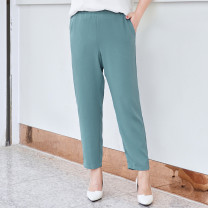 Women's large Summer 2021 T1,T2,T3,T4,T5,T6 trousers singleton  commute easy thin Solid color Simplicity Polyester, others MH104073 MS she / mu Shan Shiyi 25-29 years old pocket 96% and above Ninth pants