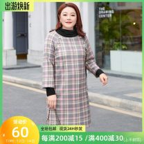 Women's large Spring 2021 Pink and grey check in stock Large XL, 2XL, 3XL, 4XL, 5XL, 6xl Dress singleton  commute easy moderate Conjoined Nine point sleeve lattice lady Crew neck Polyester, others raglan sleeve T2101009 MS she / mu Shan Shiyi 25-29 years old Button 96% and above Middle-skirt
