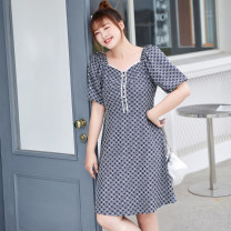 Women's large Summer 2021 Galaxy blue spot, Galaxy blue Large XL, 2XL, 3XL, 4XL, 5XL, 6xl Dress singleton  commute Self cultivation thin Conjoined shape lady square neck cotton T2184006 MS she / mu Shan Shiyi 25-29 years old Button 96% and above Middle-skirt