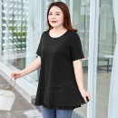 Women's large Summer 2021 Classic black stock, classic black 21 April 30 arrival Large XL, 2XL, 3XL, 4XL, 5XL, 6xl T-shirt singleton  commute easy thin Socket Short sleeve Solid color Simplicity Crew neck Medium length Cotton, others MH105033 MS she / mu Shan Shiyi 25-29 years old