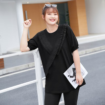 Women's large Summer 2021 Hepburn black stock, Hepburn black 21 May 10 arrival Large XL, 2XL, 3XL, 4XL, 5XL, 6xl T-shirt singleton  commute easy thin Socket Short sleeve Solid color lady Crew neck Medium length Cotton, others T2104065 MS she / mu Shan Shiyi 25-29 years old fungus