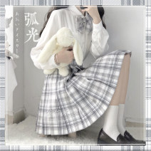 skirt Summer 2020 S,M,L,XL,2XL Short skirt Sweet High waist Pleated skirt lattice Type A 18-24 years old college