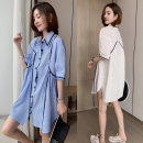 shirt White, blue Average size Spring 2021 other 51% (inclusive) - 70% (inclusive) elbow sleeve Medium length Polo collar Single row multi button puff sleeve stripe Straight cylinder Strap, button