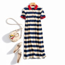 Dress Summer 2020 3XL,2XL,XL,L,M longuette singleton  Short sleeve commute Polo collar middle-waisted stripe Socket A-line skirt routine Others Korean version Button, stitching 51% (inclusive) - 70% (inclusive) cotton