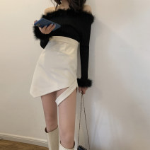 skirt Spring 2020 S,M,L,XL Off white Short skirt commute High waist Irregular Solid color Type A 18-24 years old Wool Bright color