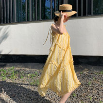 Dress Summer of 2019 yellow S, M Mid length dress singleton  Sleeveless street One word collar High waist Decor Socket Big swing other camisole 18-24 years old Type A Bright color Fold, Auricularia auricula, lace