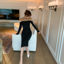 Dress Winter 2020 Average size Mid length dress singleton  Long sleeves commute Half high collar High waist Solid color Socket One pace skirt routine Others 18-24 years old Type H Bright color Splicing cotton