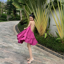 Dress Summer 2020 Rose Pink S, M Middle-skirt singleton  Sleeveless commute V-neck low-waisted Solid color Socket Irregular skirt other Hanging neck style 18-24 years old Type A Bright color Retro