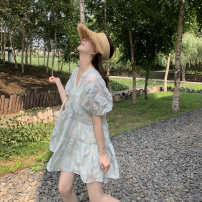 Dress Spring 2021 Light blue S, M Middle-skirt singleton  elbow sleeve Sweet V-neck High waist Decor Socket Princess Dress puff sleeve Others 18-24 years old Type A Bright color 3D, printing