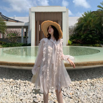 Dress Spring 2020 S, M Mid length dress singleton  Long sleeves commute Admiral Loose waist Solid color Socket Princess Dress Flying sleeve Others 18-24 years old Type H Bright color Retro Bow tie, Auricularia auricula