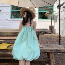 Dress Summer 2020 Mint Green S, M Middle-skirt singleton  Sleeveless Sweet One word collar High waist Socket Princess Dress other Breast wrapping 18-24 years old Type A Bright color