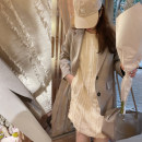 Dress Summer 2021 Apricot dress in stock, apricot dress booking, apricot top in stock, apricot top Booking S,M,L singleton  commute Crew neck Solid color Other / other Korean version 30% and below cotton