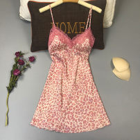 Pajamas / housewear set female Other / other M,L,XL,XXL Light brown, decor, coffee, white, pink, pink Iced silk camisole sexy pajamas summer Thin money V-neck Leopard Print shorts Socket youth rubber string More than 95% silk printing 240g Short skirt