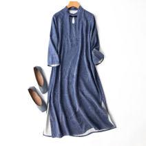 Dress Spring 2021 Denim blue Loose one size fits all longuette singleton  three quarter sleeve commute stand collar Loose waist Decor Socket routine Type H Manis Retro L---6---41 More than 95% silk