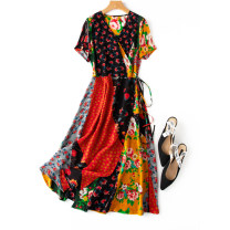 Dress Spring 2021 Exotic print M, L Mid length dress singleton  Short sleeve commute V-neck middle-waisted Decor A-line skirt routine Type A Manis Retro Print, lace up L--4---1 More than 95% Crepe de Chine silk