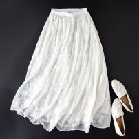 skirt Summer 2020 L (90-115 kg recommended), XL (110-135 kg recommended) White Embroidery, black embroidery Mid length dress grace Natural waist A-line skirt Type A More than 95% silk