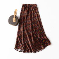 skirt Spring 2021 L,XL Coffee Tartan print longuette Retro Natural waist skirt lattice Type A 91% (inclusive) - 95% (inclusive) Silk and satin silk