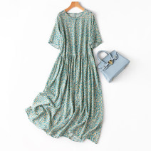 Dress Spring 2021 Fresh literature and art Loose one size fits all longuette singleton  Short sleeve commute Crew neck Loose waist Broken flowers Socket Big swing routine Type A Manis --238-2 More than 95% Crepe de Chine silk