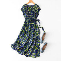 Dress Spring 2021 Blue flowers in the night sky Average size longuette singleton  Short sleeve commute One word collar middle-waisted Decor Socket routine Type A Manis Simplicity printing L--4--127 91% (inclusive) - 95% (inclusive) Silk and satin silk