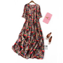 Dress Spring 2021 Umbrella in the rain Loose one size fits all longuette singleton  Short sleeve commute Crew neck Loose waist Decor Socket A-line skirt routine Type A Manis literature More than 95% Crepe de Chine silk