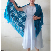 Scarf / silk scarf / Shawl wool White wool in stock, malachite blue in stock Spring and autumn, summer, winter female Shawl multi-function ethnic style triangle Students, youth, middle age, old age Plants and flowers Splicing 98cm 206cm More than 96% 32