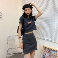 Professional dress suit S=1,M=2,L=3,XL=4 Dark grey suit Summer 2021 Short sleeve S&M2100402 A-line skirt