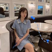 Dress Spring 2021 Blue, black S=1,M=2,L=3,XL=4 Mid length dress singleton  Short sleeve commute Polo collar High waist Solid color Socket One pace skirt routine Type A Korean version 91% (inclusive) - 95% (inclusive)