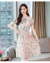 Dress Summer 2020 Orange powder printing L Mid length dress singleton  Short sleeve Sweet Scarf Collar Elastic waist Socket Pleated skirt Lotus leaf sleeve 18-24 years old Type A Chiffon