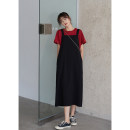 Dress Summer 2020 black S, M longuette singleton  Sleeveless commute square neck High waist Solid color Single row two buttons other other camisole 18-24 years old Type A MISAZ Simplicity 81% (inclusive) - 90% (inclusive) other polyester fiber