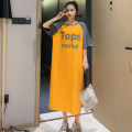 T-shirt orange M,L,XL Summer 2020 Short sleeve Crew neck easy Medium length raglan sleeve commute cotton 86% (inclusive) -95% (inclusive) 18-24 years old Korean version youth Letters, color matching T2031 Printing, splicing