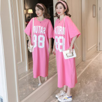 Dress Summer 2020 Pink M,L,XL longuette singleton  Short sleeve commute Crew neck Loose waist letter Socket A-line skirt routine Others 18-24 years old Type H Korean version printing T1908 More than 95% knitting cotton