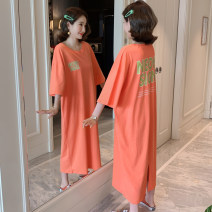 Dress Summer of 2019 orange M,L,XL longuette singleton  Short sleeve commute Crew neck Loose waist letter Socket A-line skirt routine Others 18-24 years old Type H Korean version T1923 More than 95% cotton