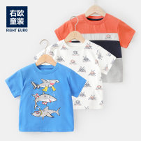 T-shirt Full print on white background, orange mosaic, color blue Righteuro 90CM,100CM,110CM,120CM,130CM male summer Short sleeve Crew neck leisure time No model nothing other Cartoon animation Cotton 100% U12946 2, 3, 4, 5, 6, 7, 18 months