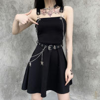 Dress Summer 2020 black S,L,M Short skirt singleton  street High waist Solid color Socket Big swing camisole 18-24 years old Splicing, chain 91% (inclusive) - 95% (inclusive) other cotton