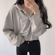 Sweater / sweater Autumn 2020 S,L,M Long sleeves have cash less than that is registered in the accounts Socket singleton  routine Hood easy Sweet routine Solid color 18-24 years old Button spandex
