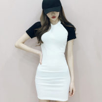 Dress Summer of 2019 Average size Short skirt singleton  Short sleeve Sweet middle-waisted Solid color Socket One pace skirt 18-24 years old Splicing other