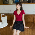 Fashion suit Summer 2021 S,M,L Red T-shirt, black polka dot skirt Other / other 96% and above cotton