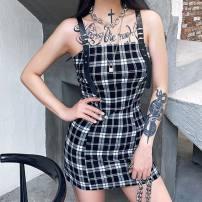 Dress Summer 2020 black S,L,M Short skirt singleton  commute High waist lattice Socket Pencil skirt camisole 18-24 years old printing other