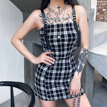 Dress Summer 2020 black S,L,M Short skirt singleton  commute High waist lattice Socket Pencil skirt camisole 18-24 years old printing other