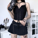 Vest sling Summer 2020 black S,L,M Self cultivation other other Solid color 18-24 years old 91% (inclusive) - 95% (inclusive) cotton Bandage, Bareback